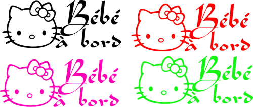 Sticker Bébé à bord 10 - Hello Kitty