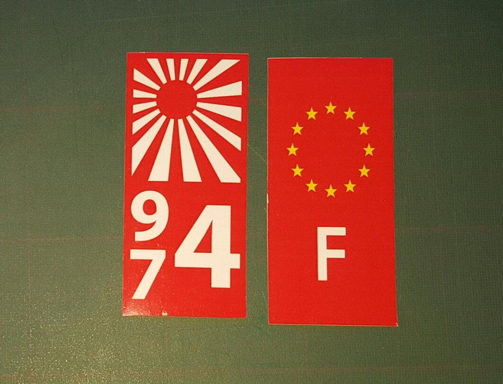 sticker plaque immatriculation 974 voiture 42 974 ker kreol. Black Bedroom Furniture Sets. Home Design Ideas