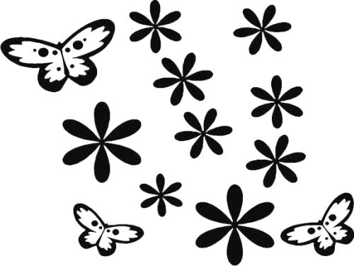 Sticker Fleur et 4 Papillons 15x15cm