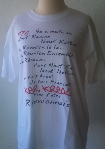 T-shirt blanc - Cosement Kreol 974 - Réunion