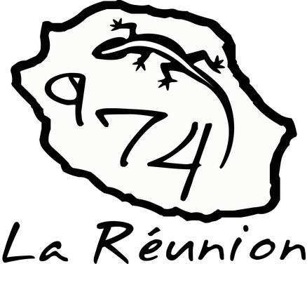Sticker Carte de la Réunion + diver Taille M