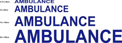 Sticker Ecriture Ambulance modéle 01 Taille L - Impression Normale