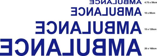Sticker Ecriture Ambulance modéle 02 Taille L - Impression Miroir