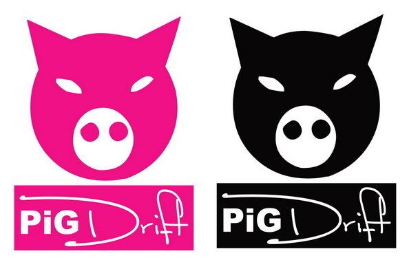 Sticker japonais PIG Drift - Taille 15 x 20cm