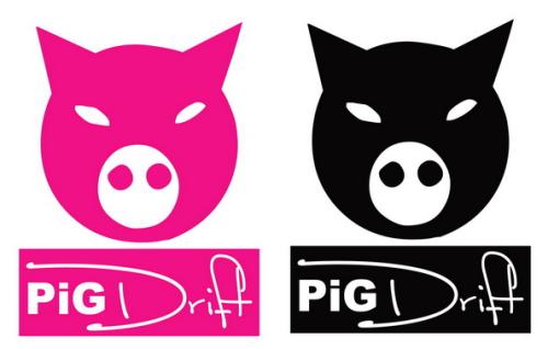 Sticker japonais PIG Drift - Taille 22 x 30cm