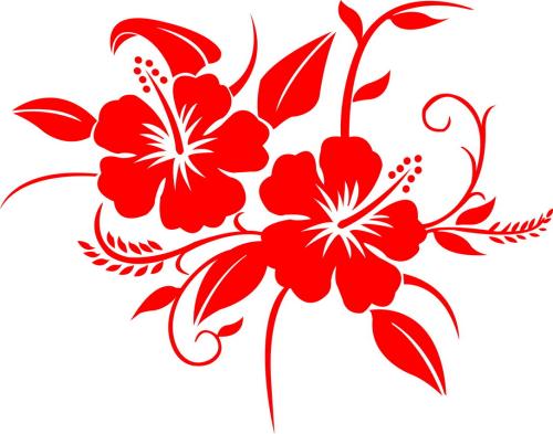 Sticker Hibiscus v02 - Taille : 38 x 30cm