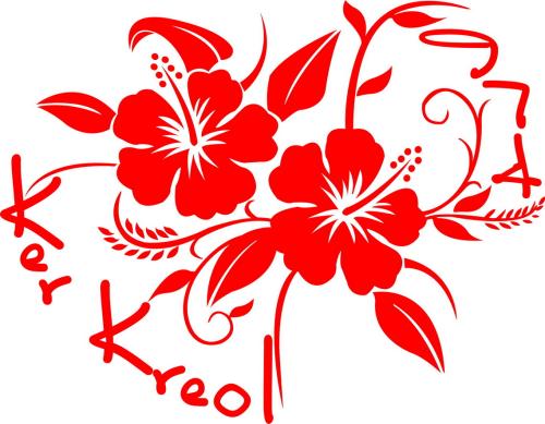 Sticker Hibiscus kk974 v04 - Taille : 30 x 22cm