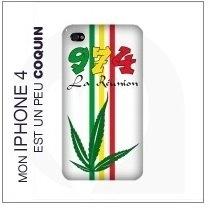 Coque Iphone 4 Blanc - 974 Ker Kreol Réunion Rasta