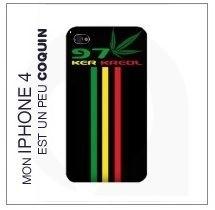 Coque Iphone 4 Noir - 974 Ker Kreol Rasta Zam