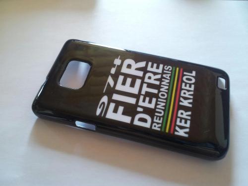 Coque Galaxy Samsung S2 Noir - 974 Ker Kreol Fier d'etre Réunionnais