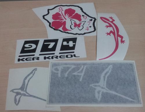 Lot de Sticker Réunion - 974 : 15