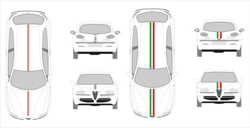 Kit sticker monté - bande auto Italie 050cm
