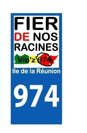 Sticker plaque immatriculation Voiture 974 - 06