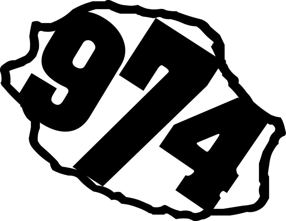 Sticker écriture 974 + Carte de la Réunion 10 x 8cm
