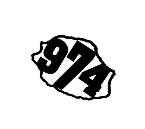 Sticker écriture 974 + Carte de la Réunion Taille S