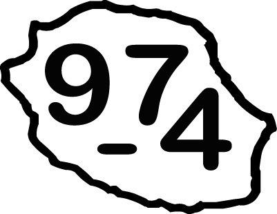 Sticker écriture 974 + Carte de la Réunion Taille L