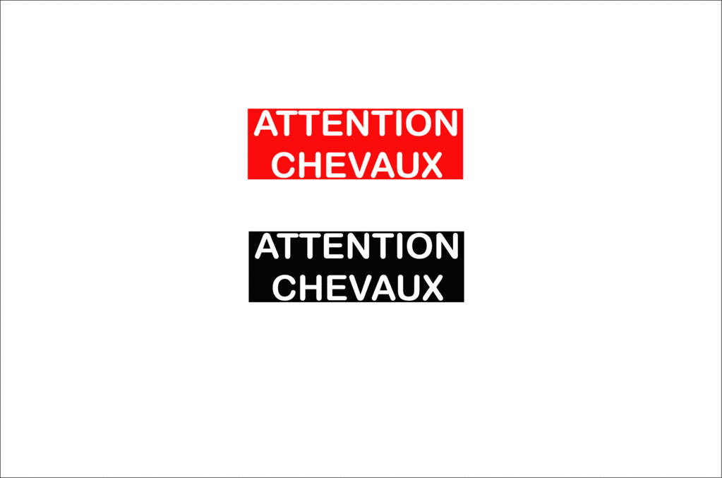 Sticker Voiture Attention Chevaux 30 x 10cm avec fond