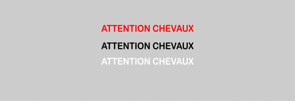 Sticker Voiture Attention Chevaux 60 x 05cm
