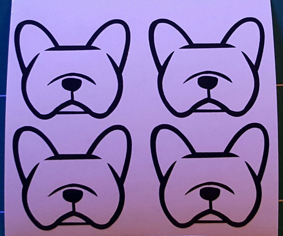 Sticker bouledogue français - Dim 4 x 3.6cm