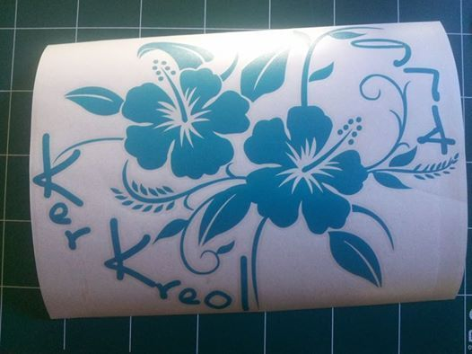 Sticker Hibiscus kk974 v04 - Taille : 38 x 30cm