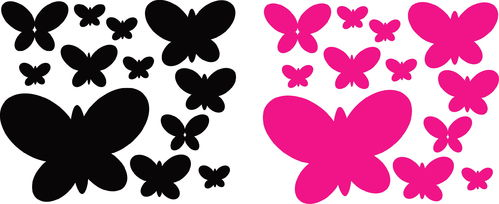 Sticker Papillon 12 pcs - dim 18,5 x 16.5cm
