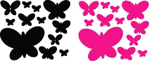 Sticker Papillon 12 pcs - dim 18,5 x 16.5cm