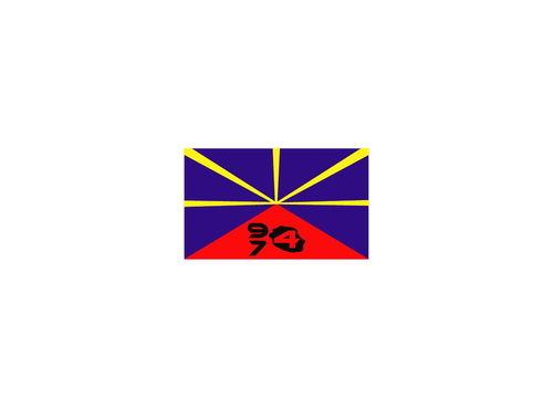 Sticker drapeau Lo Mahavéli + 974- Dim 06 x 10cm