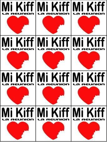 Planche de 6 mini sticker Mi Kiff la réunion