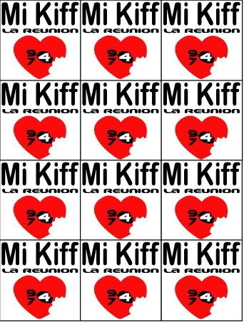 Planche de 12 mini sticker Mi Kiff la réunion Type 974