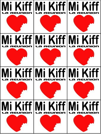 Planche de 12 mini sticker Mi Kiff la réunion