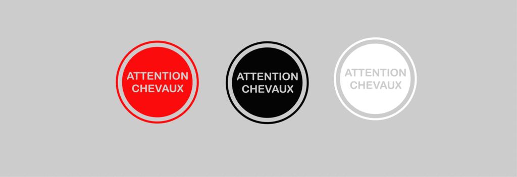 Sticker Voiture Attention Chevaux 20 x 20 cm