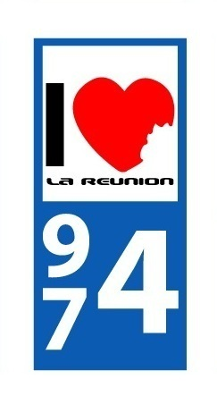 Sticker plaque immatriculation Voiture 974 - 03