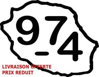 Livraison gratuite - Sticker carte de la Réunion 974