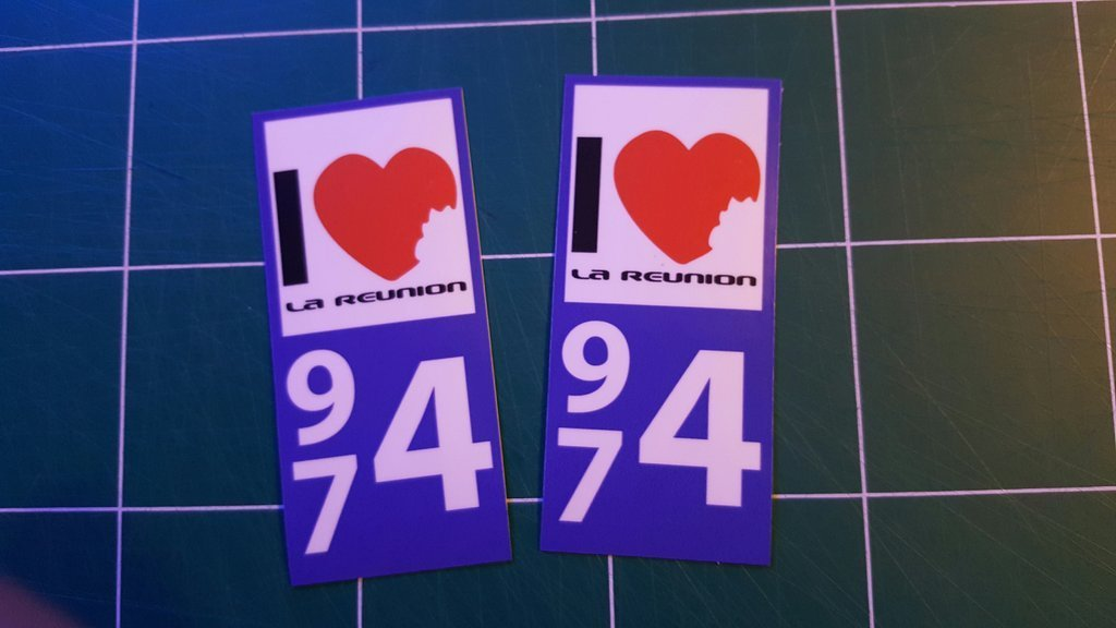Lot 2 Stickers plaque immatriculation Voiture 974 - 03