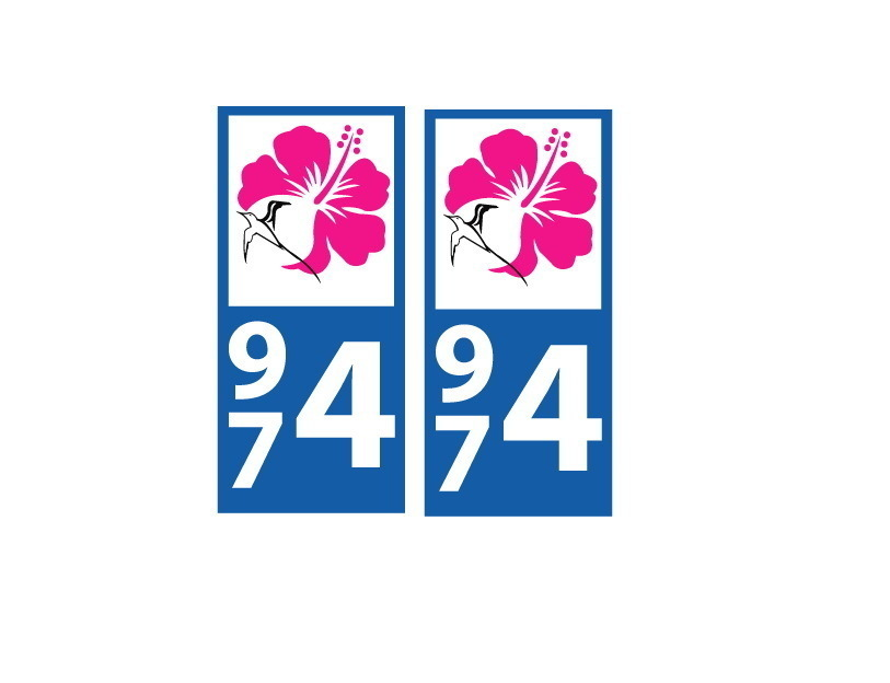 Lot 2 Stickers plaque immatriculation Voiture 974 - 08