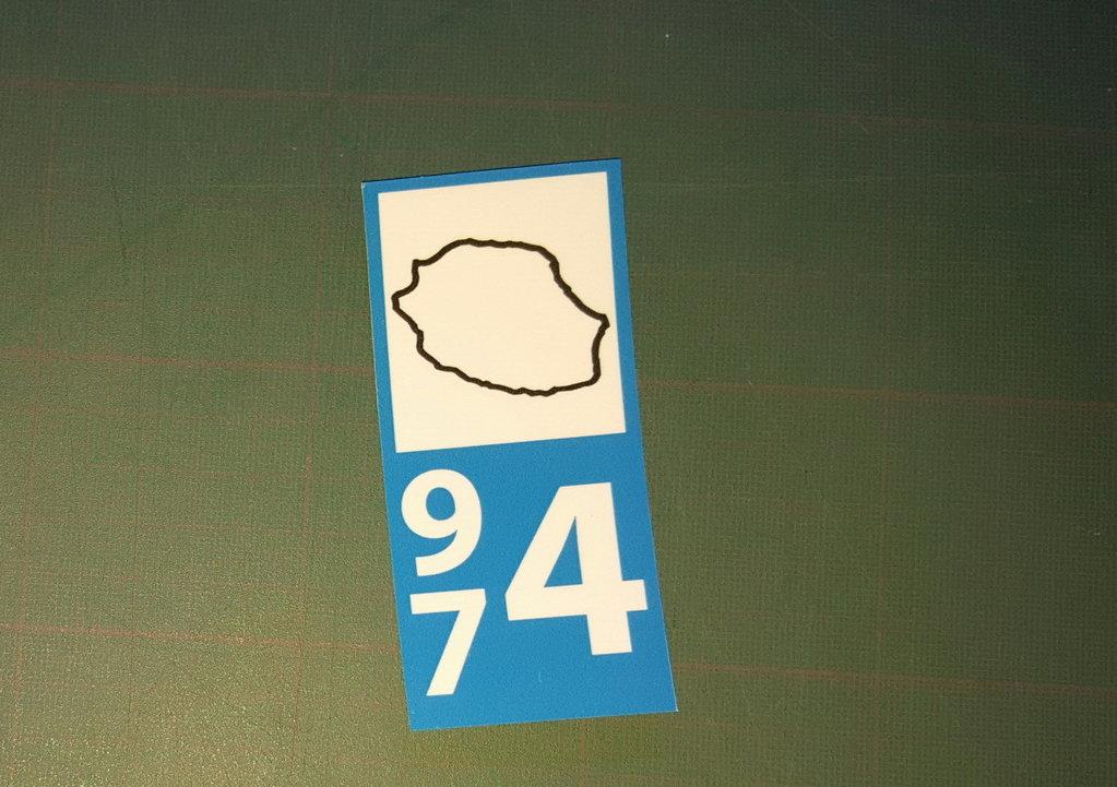 Lot 2 Stickers plaque immatriculation Voiture 974 - 17