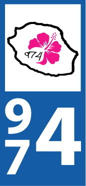 Lot 2 Stickers plaque immatriculation Voiture 974 - 12