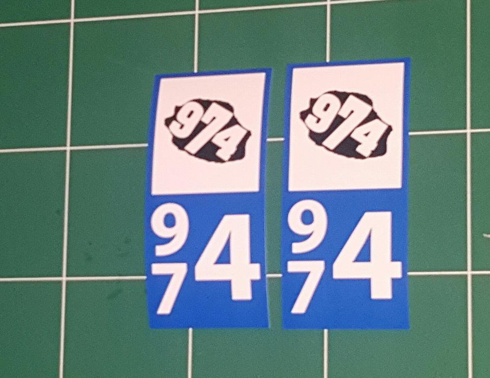 Lot 2 Sticker plaque immatriculation Voiture 974 - 19