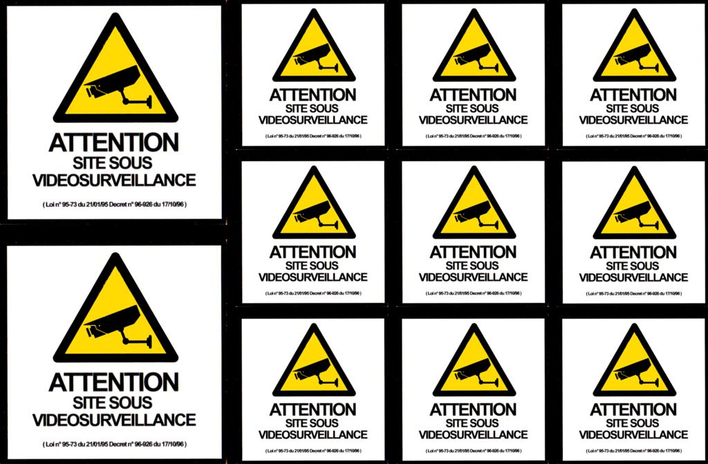 Planche 11 stickers Videosurveillance - 23 x 15cm