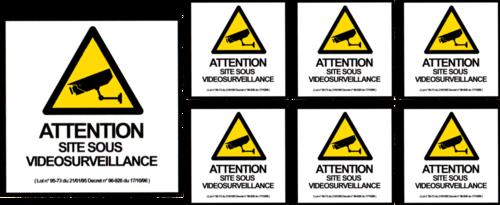Planche 7 stickers Videosurveillance - 30 x 13cm
