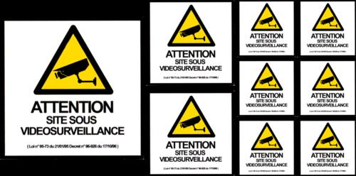Planche 9 stickers Videosurveillance - 35 x 18cm