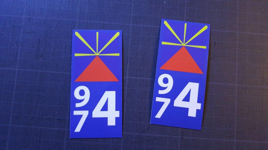 Lot 2 Stickers plaque immatriculation Moto 974 - 05