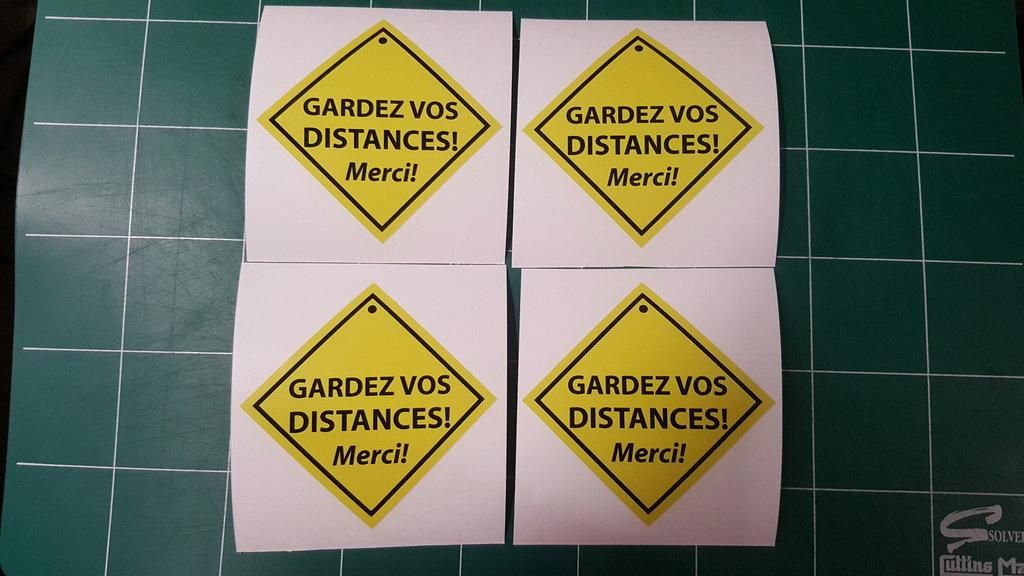 Sticker Gardez vos distances - 108 x 108 mm