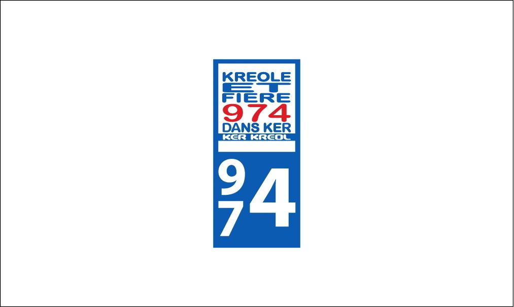 Sticker plaque immatriculation Voiture 974 - 24