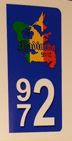 Lot 2 Stickers plaque immatriculation Voiture 972 - 01