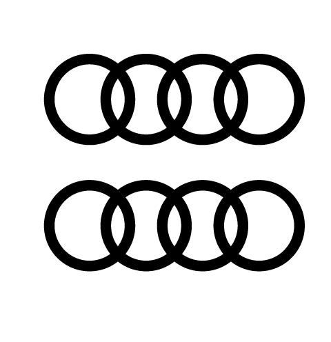 Lot de 2 stickers Logo Audi - Dim 100 x 35 mm