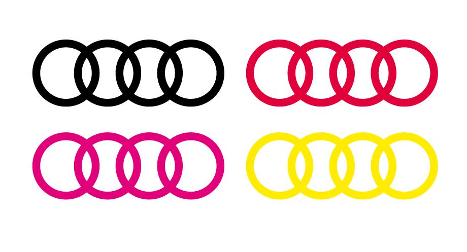 Lot de 2 stickers Logo Audi - Dim 150 x 53 mm
