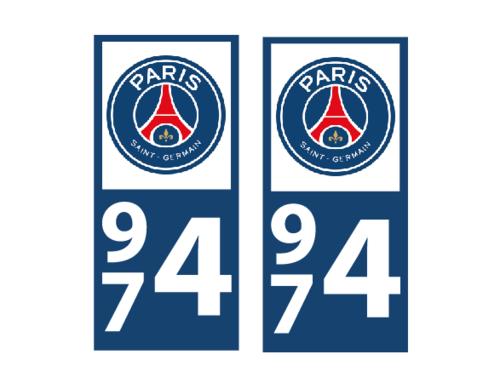 Lot 2 Stickers plaque immatriculation Voiture Paris - 01