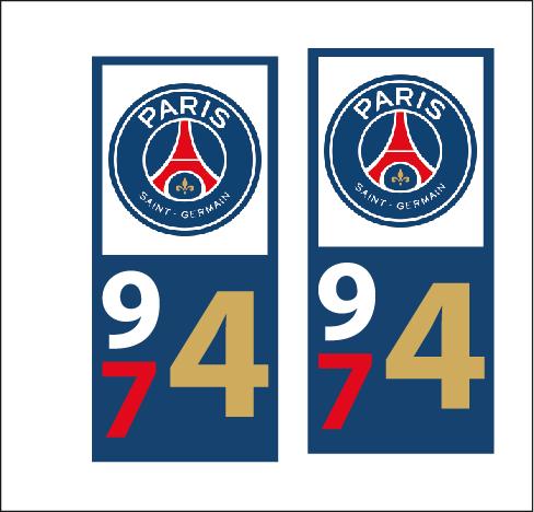 Lot 2 Stickers plaque immatriculation Voiture Paris - 04