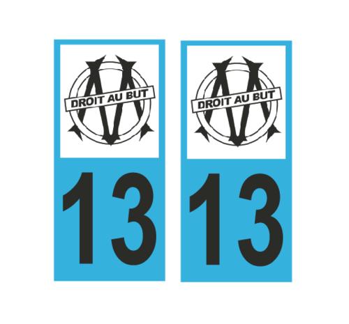 Lot 2 Stickers plaque immatriculation Voiture Marseille - 01
